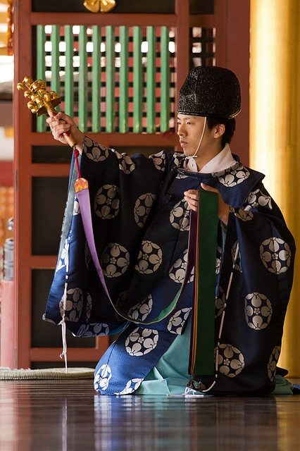 Shinto Priest With Crotal Bell Tree by jasonracey, via Flickr