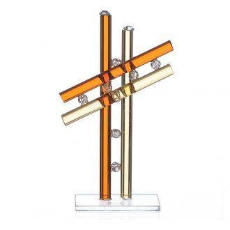 Cross Murano Glass amber h. 12cm   online sales on HOLYART.co.uk