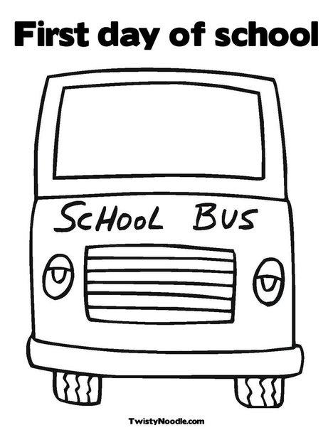 School Bus Coloring Pages For Kindergarten : Yellow school bus coloring page from twistynoodle