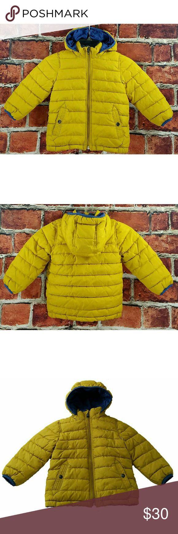 Baby Gap Boys Reversible Puffer 3T Baby Gap Toddler Boys Yellow & Blue Reversible Hooded Winter Puffer Jacket Coat Size 3T EUC   Description:  Toddler Boys  Size 3T  Mustard Yellow & Medium Blue  Reversible Jacket  Insulated  Removable Hood  Excellent Used Condition   There are no Visible Tears, Rips or Stains  HOWEVER, there is writing on the blue tag on the yellow side of the jacket, which is under the hood and doesn't show. baby gap Jackets & Coats Puffers