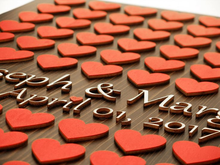 Wedding guest book, heart singing, 3D wood, wedding singing, red heart by WeddingdesignStore on Etsy