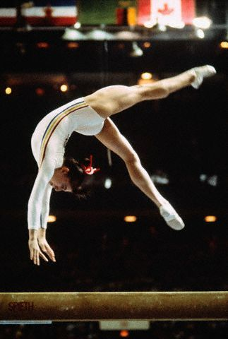 Nadia Comăneci (Romania) on balance beam at the 1976 Montreal Olympic Games.