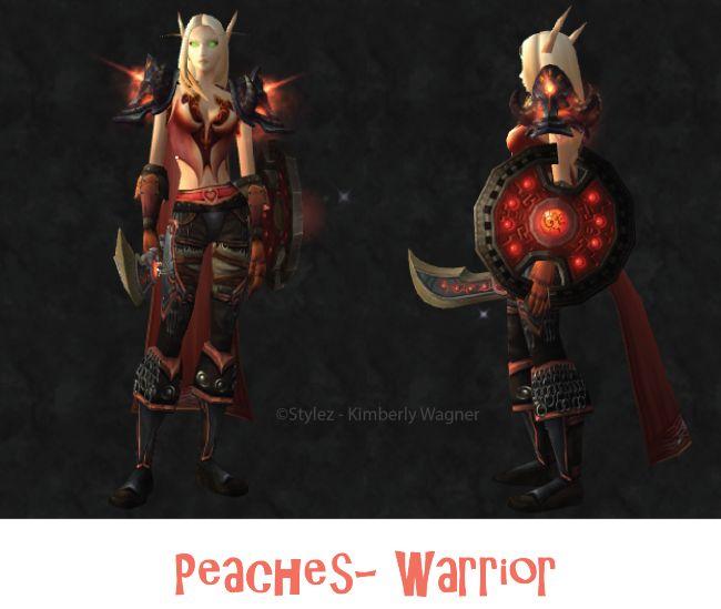 Peaches #warrior #transmog set for #worldofwarcraft! Visit my blog for more unique transmog sets! http://transmogsbycentaura.wordpress.com/ #wow #warcraft