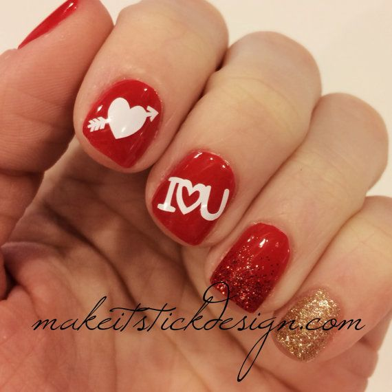 I like the ring finger, red to glitter red