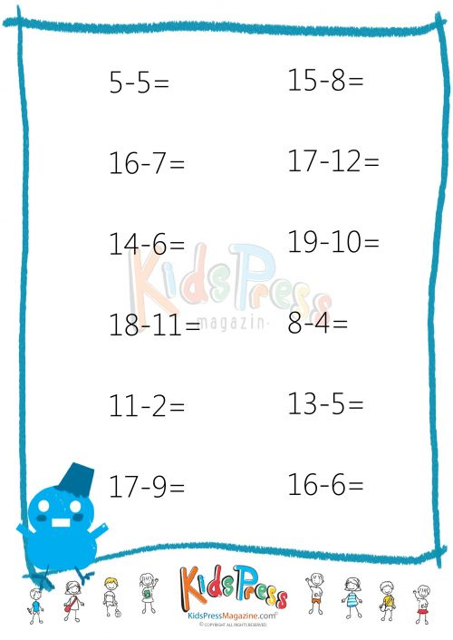 Counting Number worksheets : subtraction drill worksheets first ...