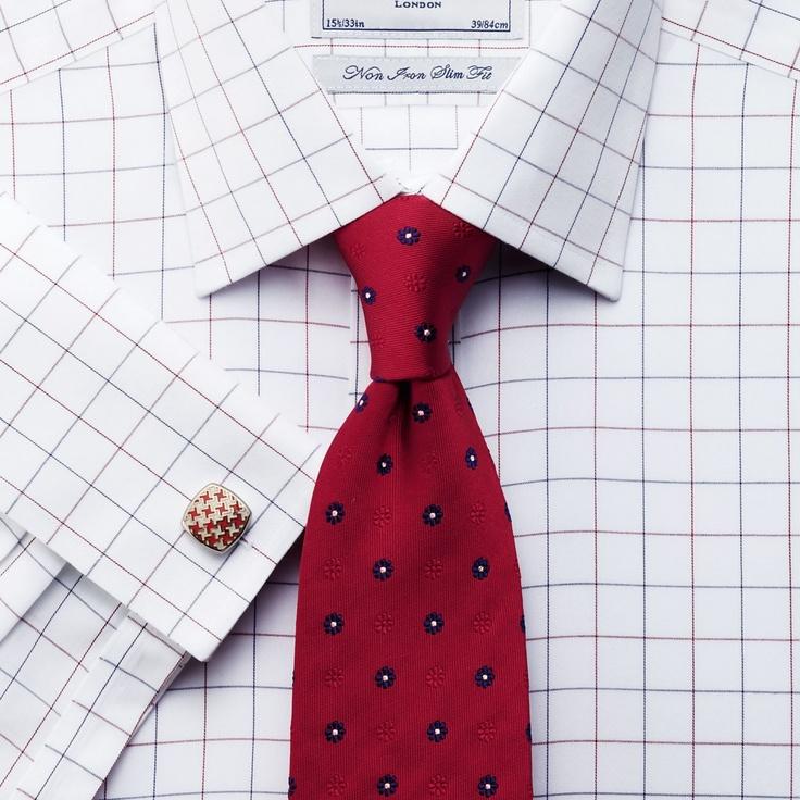 Navy and red tassel check non-iron slim fit shirt   Slim fit dress shirts from Charles Tyrwhitt   CTShirts.com