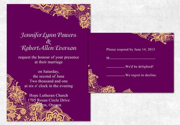 purple and orange fall lace printed wedding invitations 2014 #fallweddingideas #purpleweddinginvitations #elegantweddinginvites