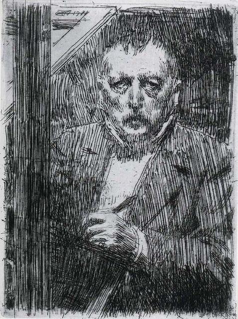 Anders Zorn 1911 Bleistiftzeichnung mit Selbstporträt