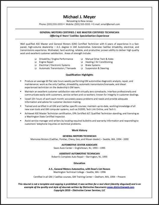 Sample #resume for blue collar jobs. #automotivetechnician #motortechnician