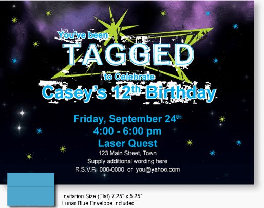23 best personalized birthday invites images on pinterest laser laser tagged birthday invitations choose your color pink or blue plus we have matching glow in the dark t shirts to help coordinate your laser tag stopboris Image collections