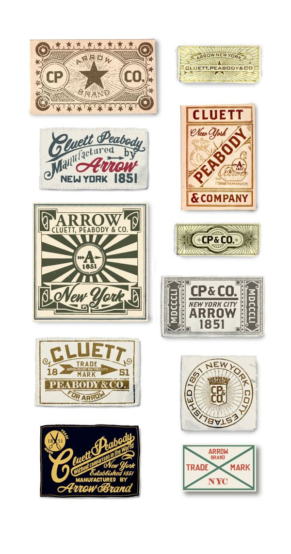 Arrow/ Cluett Labels and Packaging by Glenn Wolk, via Behance
