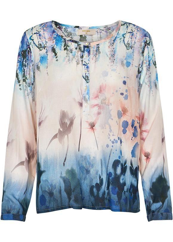 Bluse print 10601647 Cream Pili Blouse - pink tint
