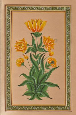 Mughal Floral Flower Miniature Painting Moghul Indian Handmade Watercolor Art.
