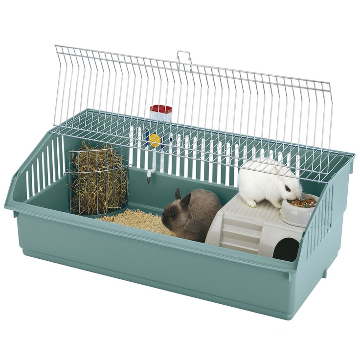 The Ferplast Deluxe Rabbit Cage is the perfect home for one or two small rabbits. It comes complete with a corner hay rack, water bottle and food bowl. £59.99  http://www.cagesworld.co.uk/p/Ferplast_100_Deluxe_Rabbit_Cage.htm