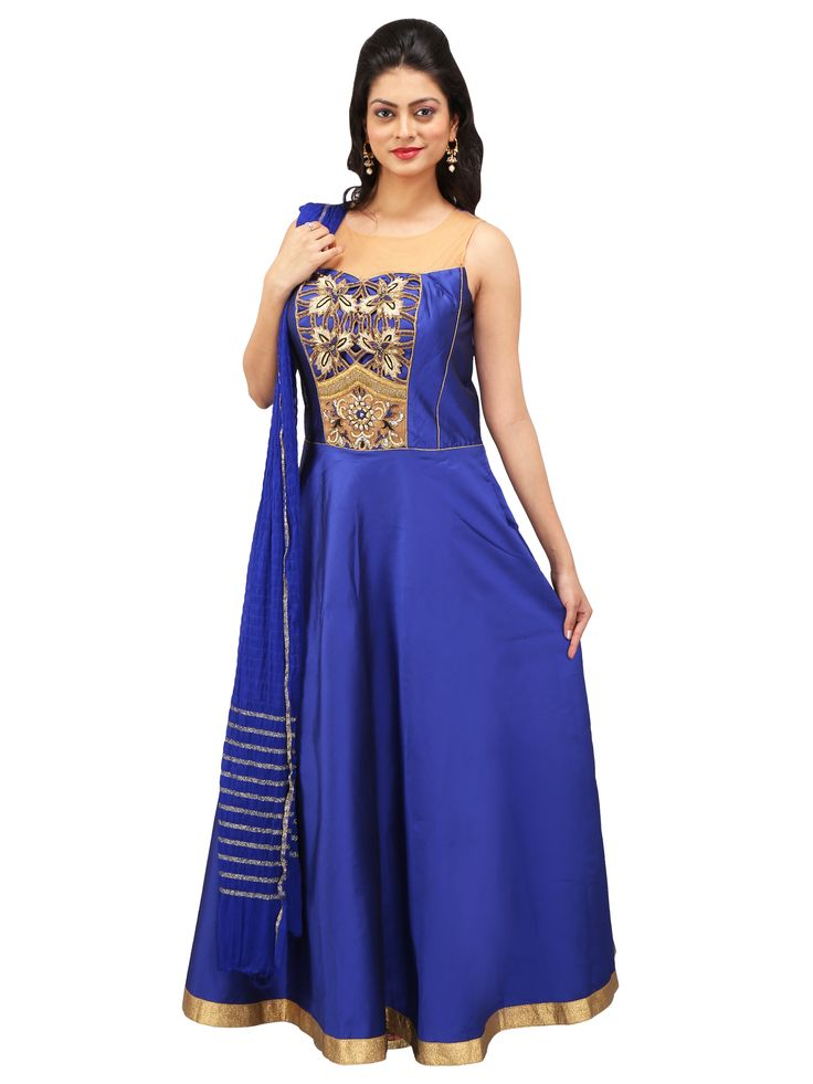 Differentiate yourself by jazzing up with this elegant blue taffeta silk party wear gown. With its magnificent Zardosi, Thread, Fancy Beads, Sequins and Rhinestone Work on the yoke and zari border on the ghera you are sure to get an enriching look. It has a see-through net neckline and deep back to give you an even fascinating persona.