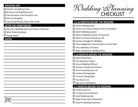 wedding decorations checklist