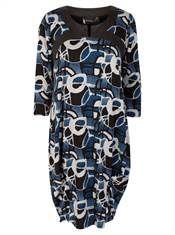 bohéme tunika kjole grå kunstnerrisk print