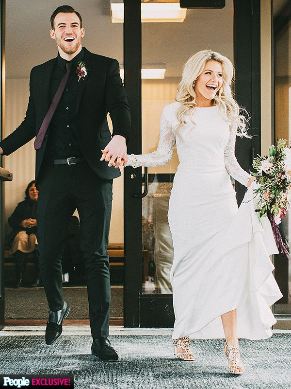 Click through for all the details on DWTS dancer Witney Carson's gorgeous long-sleeve wedding dress!