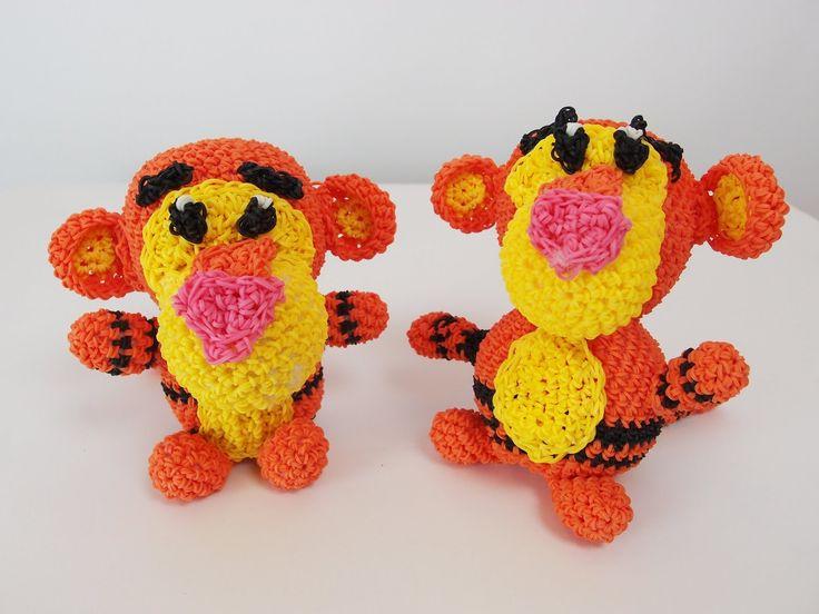 Tigger the tiger from Winnie the Pooh Rainbow Loom Bands Amigurumi Loomi...