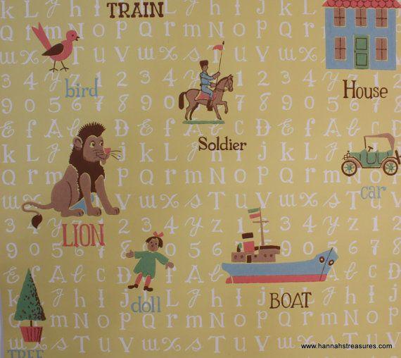 1950's Vintage Wallpaper Alphabet and Nursery by HannahsTreasures, $18.00
