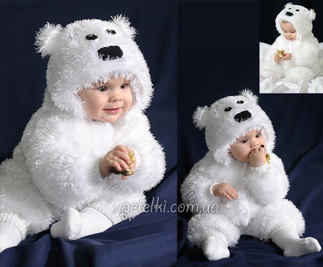 Костюм мишка Умка для малыша. Описание вязания спицами из травки