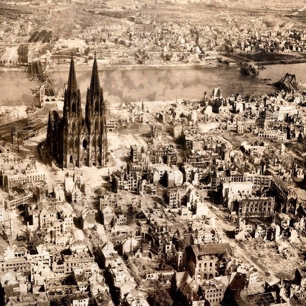 """Today in WW2 history 3/5/45 The 1st US Army reaches Köln (what's left of it).   """"The German is now licked. It is merely a question of when he chooses to quit."""" So said British Field Marshall 1st Viscount Alan Brooke to Eisenhower. The gamble in the Ardennes had failed. When American soldiers reached Cologne (Köln) they completely surprised the hastily trained German defenders. The city fell under American control in only two days."""