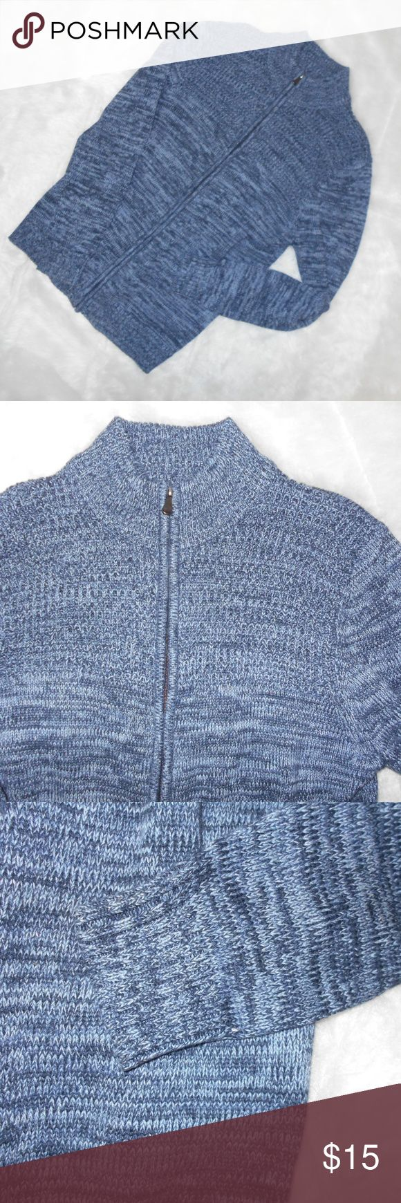 """Lovely blue variegated zip front cardigan sweater Great Northwest brand, mens zip front cardigan.   Really pretty colors of blue variegated.  Ribbed cuffs and bottom.  No pockets.  55% cotton, 45% acrylic Excellent condition; from smoke free home. 20.5"""" armpit to armpit;17"""" side to side at bottom; 27"""" sleeve;  29"""" long from back neck to hem. Great Northwest Sweaters Cardigan"""