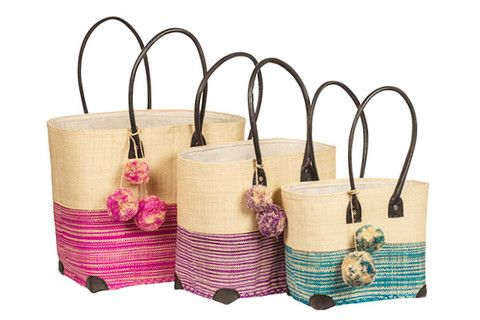 Fun and seasonal Ravinala Pompom Baskets available in Black, Aqua, Purple and Fuchsia www.ravinala.co.uk #leather #raffia #drawstring #beachbag #strawbag #tote #basket