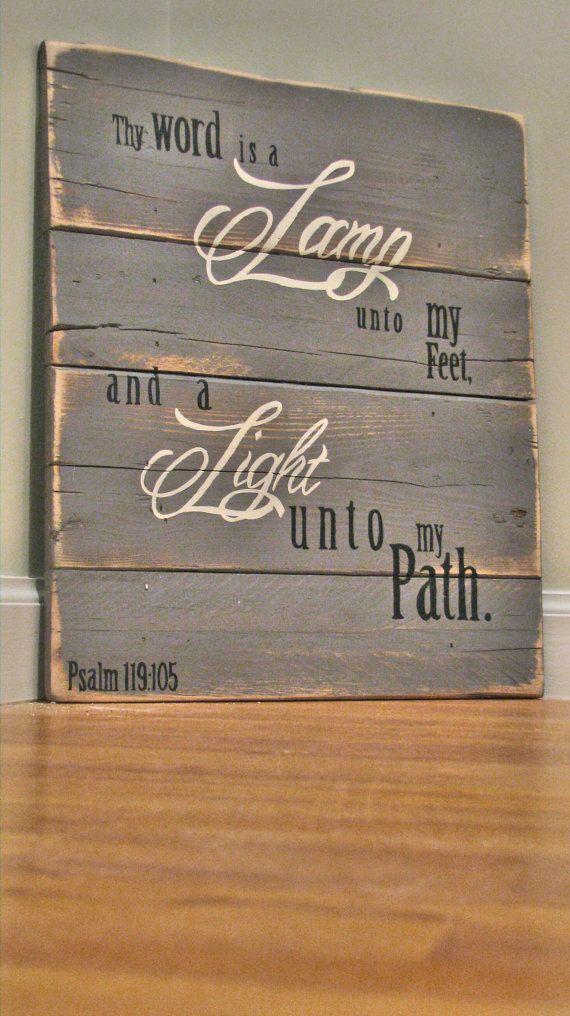 hand painted pallet wood sign with scripture verse psalm 119105 acer friends wooden classic