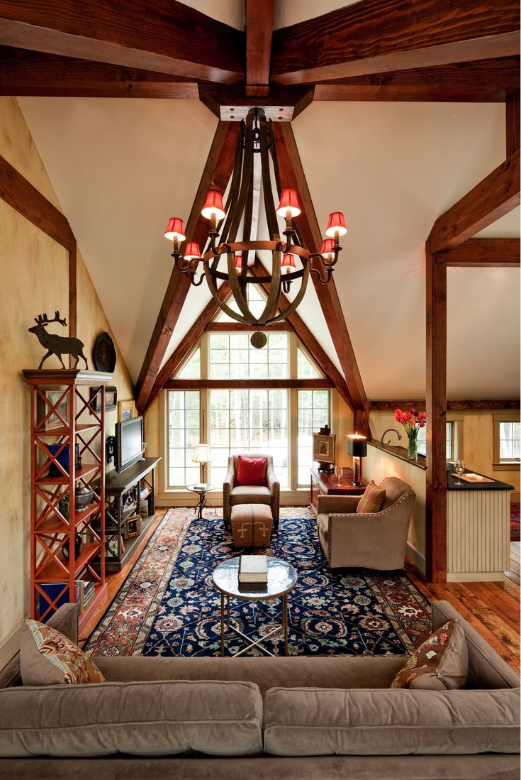 Post and beam carriage house plans - Gorgeous Beams Join At The Peak Of The Roof Line In A Post And Beam Carriage