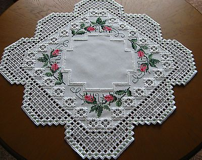 Hardanger Cross Stitch Embroidered Tablecloth Rose Buds New 100 Handmade   eBay