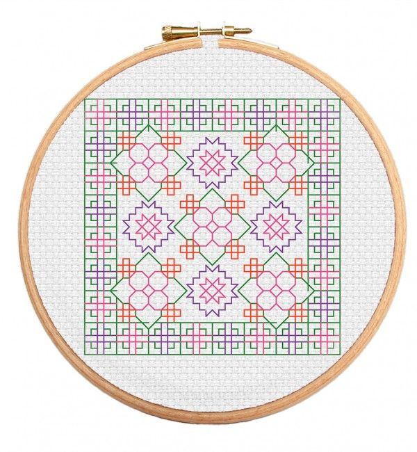 Flowers Blooming blackstitch cross stitch pattern - part of our latest Blackwork series of cross stitch patterns. https://stitchme.gifts/product/flowers-blooming-blackwork-cross-stitch-pattern/