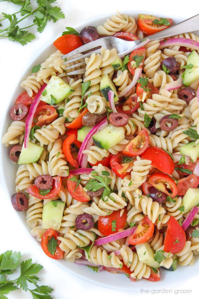 Vegan Italian Pasta Salad Oil Free The Garden Grazer Recipe In 2020 Vegan Pasta Salad Pasta Salad Vegan Italian