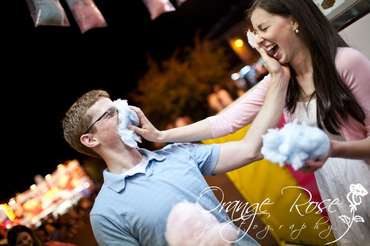Fair engagement session playful pink blue couple cotton candy, Evergreen State Fair, Monroe, WA, Hannah Chen Photography, www.hannahchenphotography.com