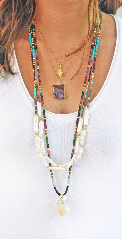 Agua dulce collar de perlas y piedras preciosas por keijewelry