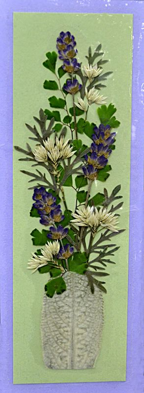 Bookmarks are great projects for pressed flowers. This one was created by Sheila Weisensale and was exhibited at  National Garden Clubs convention in Buffalo NY in spring 2012.