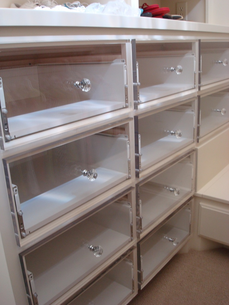 Pexiglass drawer fronts in closet.  LOVE!  TWC