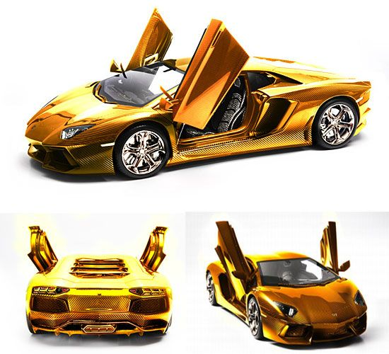 Lamborghini Aventador gold version - This is only a model, but costs more than the Real Thing.... by about $3,200,000