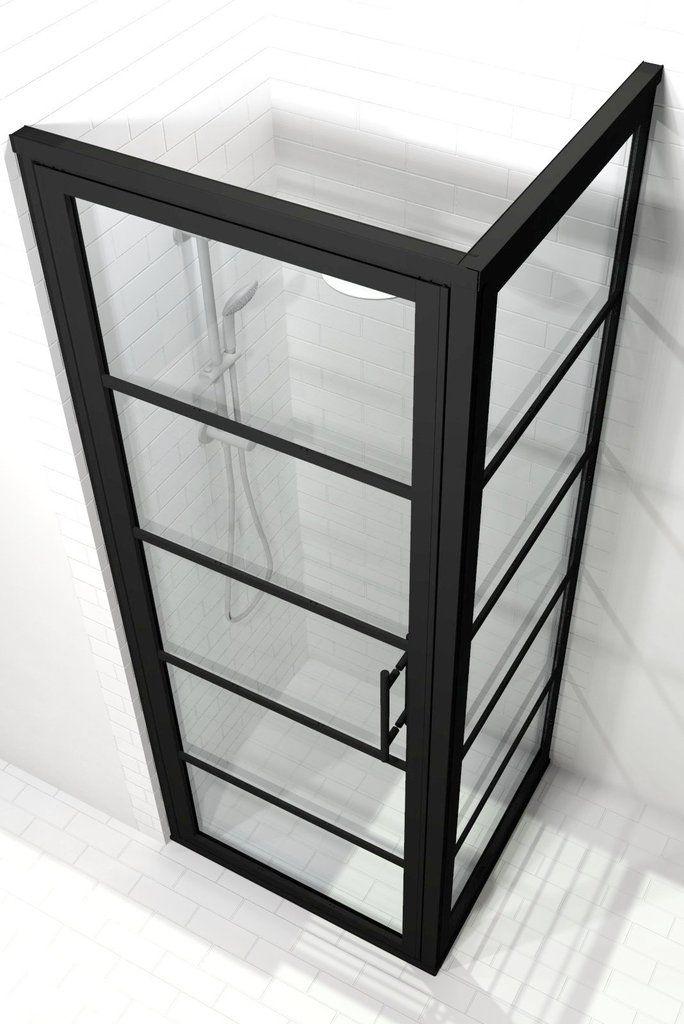 Gridscape Gs2 2 Panel Corner Shower Door In Black With Clear Glass Corner Shower Doors Shower Doors Corner Shower