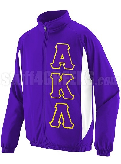 Price:  $69.00  Purple Alpha Kappa Lambda track jacket with the Greek letters down the left.
