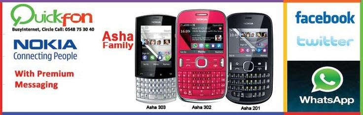 Nokia Asha Range available at Quickfon BusyInternet.  Asha 200: 169 Ghc- Asha 201: 179 Ghc. Asha 302: 240 Ghc. Asha 303: 289 Ghs