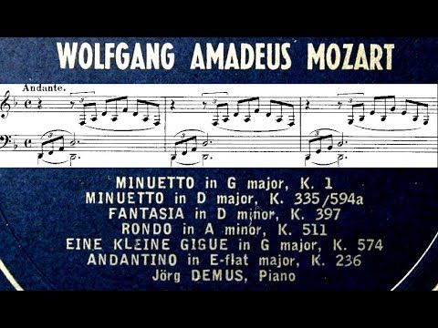 (32) Mozart / Jorg Demus, 1962: Fantasia in D Minor K.397 - Full Piano Score - YouTube