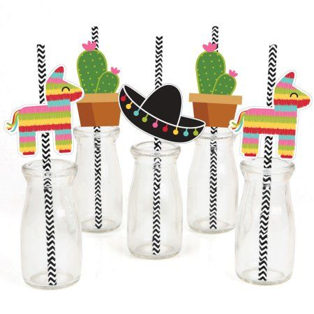 Let's Fiesta - Mexican Fiesta Party Straw Decor with Paper Straws - Set of 24