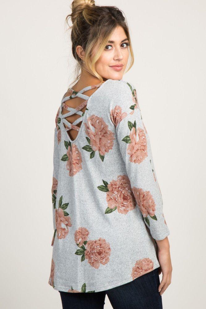 457fe8da5a36a Heather Grey Long Sleeve Floral Crisscross Maternity Top | Pregos ...