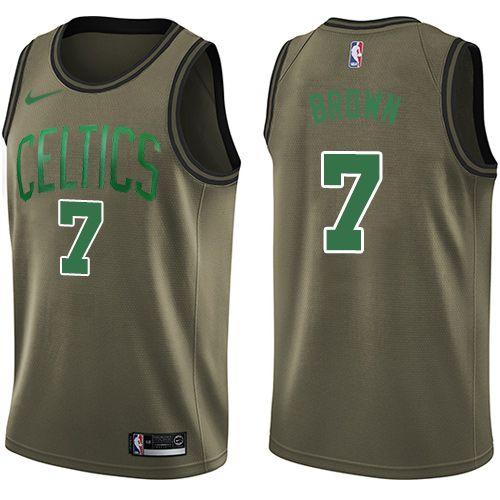 076809bb6 Nike Celtics  7 Jaylen Brown Green Salute to Service NBA Swingman Jersey