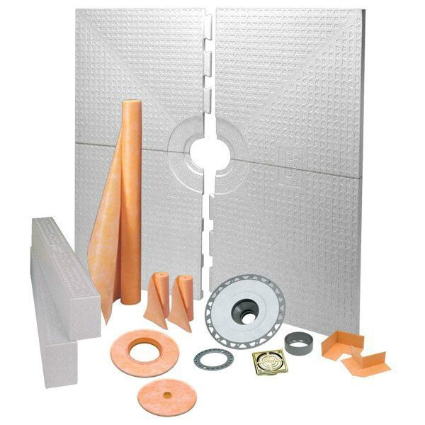 Schluter Kerdi shower kit Center Drain Tray Brushed Brass Anodized Aluminum Pvc Flange 72x72
