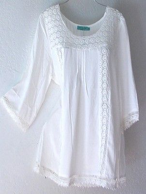 NEW~Ivory White Crochet Lace Peasant Blouse Shirt Plus Boho Top~18/20/16/XL/1X