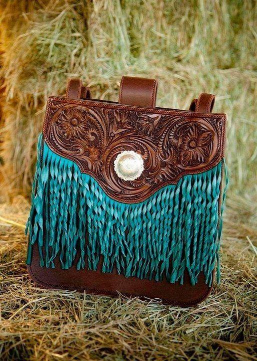 "Custom Made ""Classy Cowgirl"" Hand Tooled & Fringed Handbag"