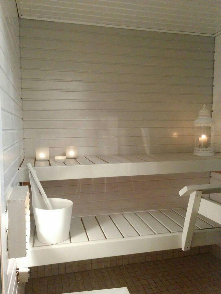 Sauna renovation ready. Diy sauna renovation. My home, White and Grey sauna!