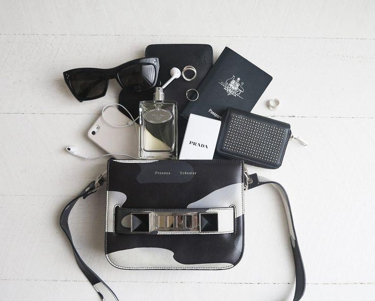 Whats In my bag, bag, proenza, schoular, PS 11, camouflage bag, saint laurent, studded, wallet,